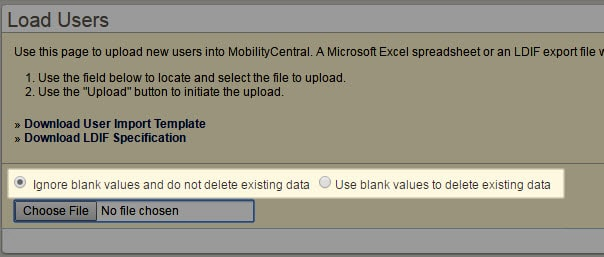 Screenshot of MobilityCentral's user upload screen