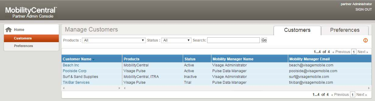 MobilityCentral Release 5.7 Partner Admin Console